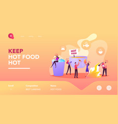 People eating concept landing page template tiny vector