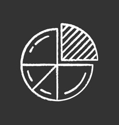 pie chart chalk icon circle divided into parts vector image