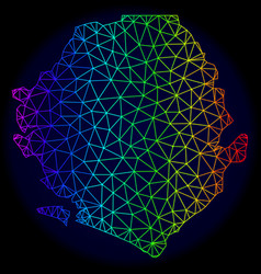 Polygonal wire frame rainbow mesh map of vector