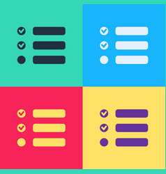 pop art task list icon isolated on color vector image
