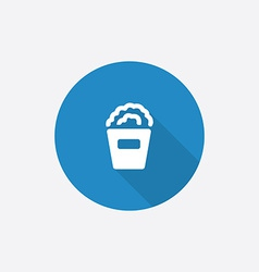 Popcorn Flat Blue Simple Icon with long shadow vector