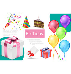 realistic birthday elements composition vector image