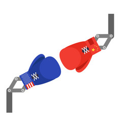 red and blue toy boxing gloves arm vector image