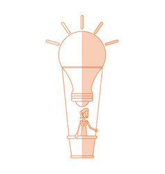 Red silhouette shading image cartoon ligth bulb vector