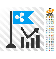 Ripple flag trend chart flat icon with bonus vector