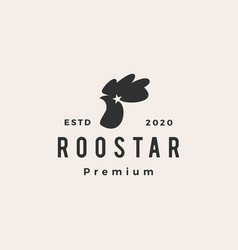 Rooster star roostar hipster vintage logo icon vector