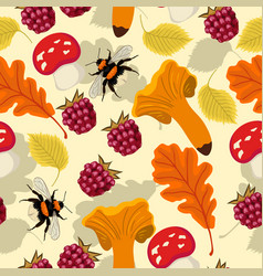 Seamless autumn pattern with mushrooms berries vector