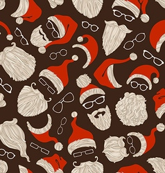 Seamless Christmas pattern of Santa hats beards vector