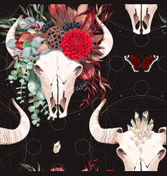 seamless pattern with bull skull and flower vector image