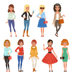Set attractive girls in fashionable casual vector