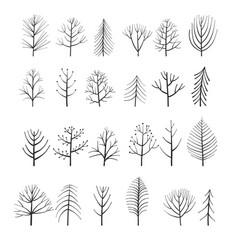 Set doodle trees vector