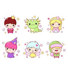 set kawaii fairy tale characters vector image