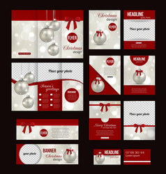 Set of Christmas corporate business stationery vector
