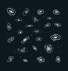 Set of hand drawn galaxy spiral galaxy vector