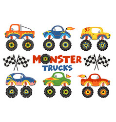 Set of isolated monster trucks vector