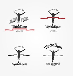 Set of marathon logotypes long distance running vector image