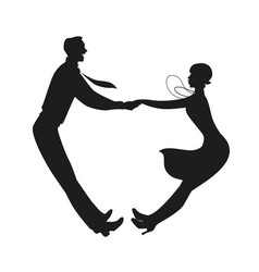 Silhouette funny couple wearing vintage vector