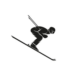 Silhouette of a skier downhill on the ski down vector