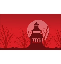 Silhouette of pavilion with bamboo background vector
