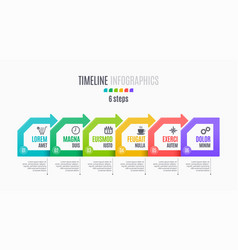 Six steps infographic timeline presentation vector