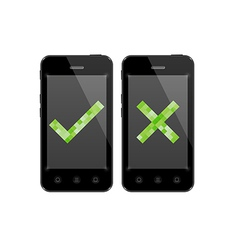 Smartphones with check and cross symbol vector