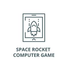space rocket computer game line icon vector image