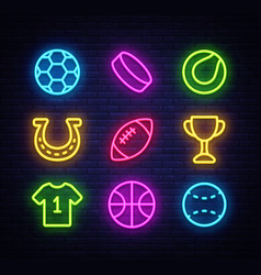 sport collection icons neon style set vector image