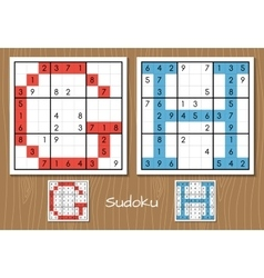Sudoku set with answers G H letters vector image