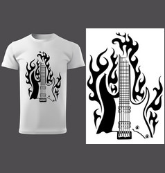 T-shirt with black motif burning electric guitar vector