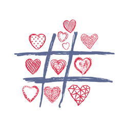 tic tac toe love doodle heart valentines day vector image