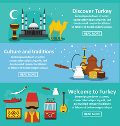turkey travel banner horizontal set flat style vector image