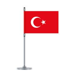 Turkish flag on metallic pole vector