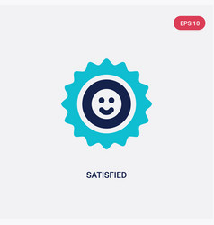 Two color satisfied icon from feedback concept vector