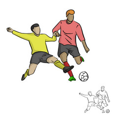 Two soccer players fighting for a ball vector