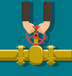 Valve of gas pipeline vector