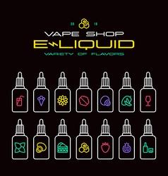 Vape shop e liquid flavors icons vector