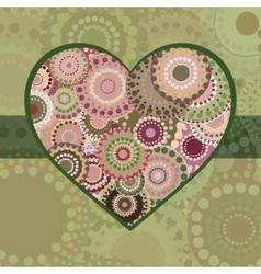 Vintage bright colorful heart green ribbon vector