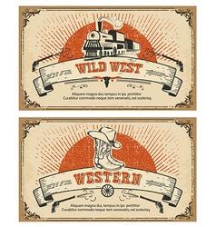 Vintage frame western cards vector