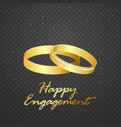 wedding ring gold on transparent background vector image