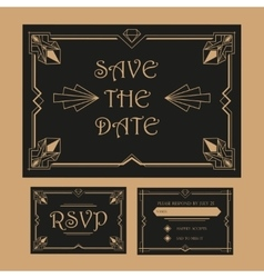Wedding save the date and rsvp card - art deco vector