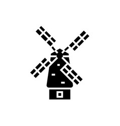 windmill icon black sign on vector image