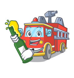 With beer fire truck mascot cartoon vector