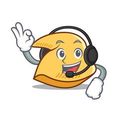 With headphone fortune cookie mascot cartoon vector