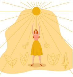 Young woman reaches for sun feminist concept vector