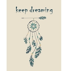 Card with native Indian-American dreamcatcher vector image