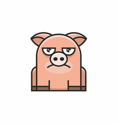 cute pig icon on white background vector image
