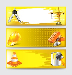 Grunge banners with construction objects vector image vector image