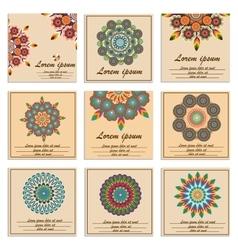 Set ornamental flower mandala greeting cards vector image