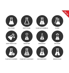 Test tubes icons on white background vector image vector image