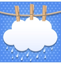 White paper cloud on a clothesline vector image
